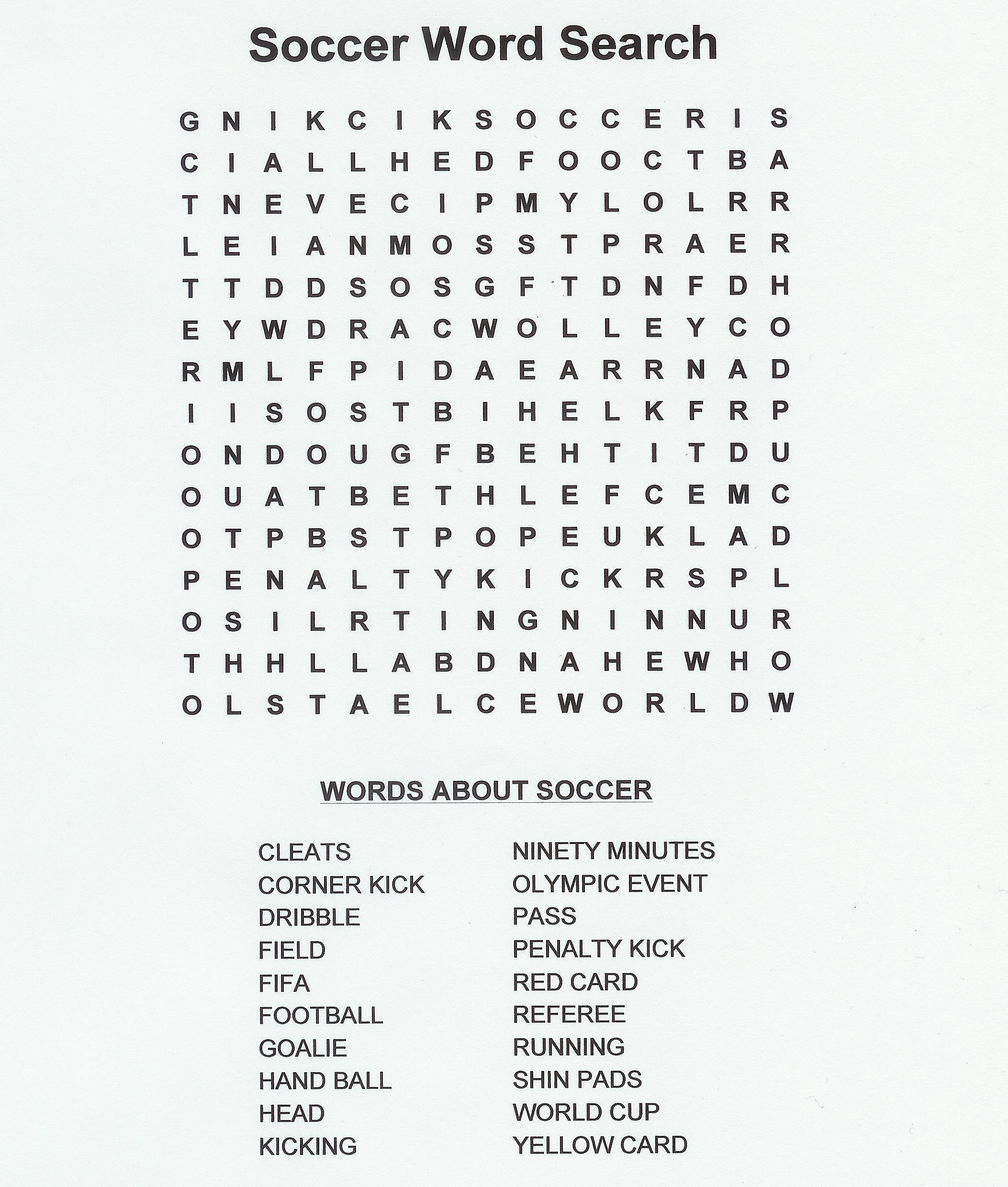 Coloring Pages of soccer wordsearch